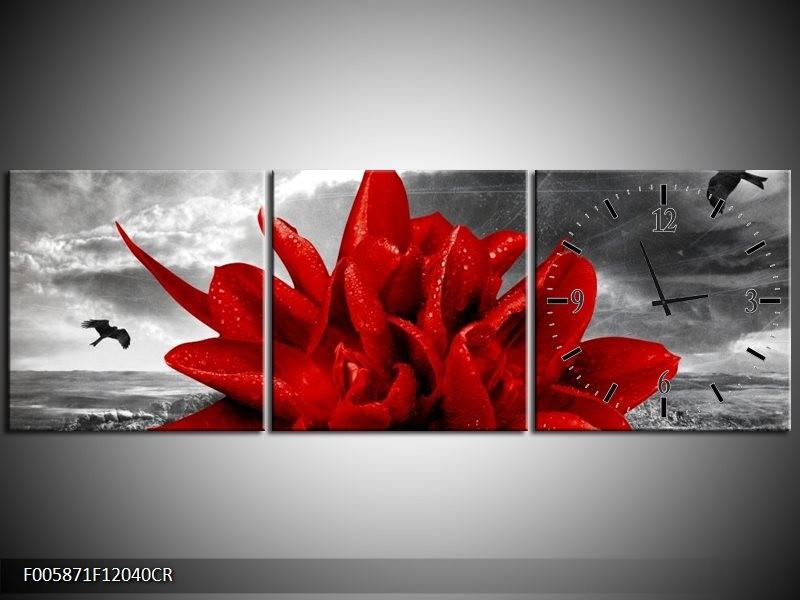 Klok schilderij Lelie | Rood, Grijs | 120x40cm 3Luik