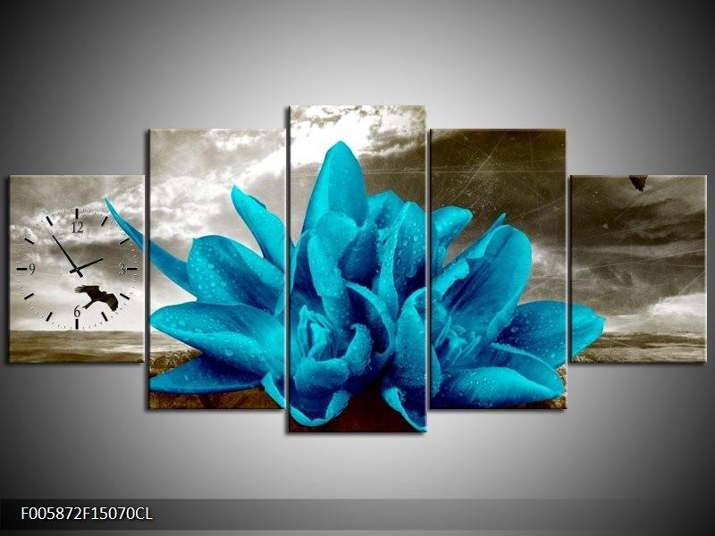 Klok schilderij Lelie   Blauw, Grijs   150x70cm 5Luik