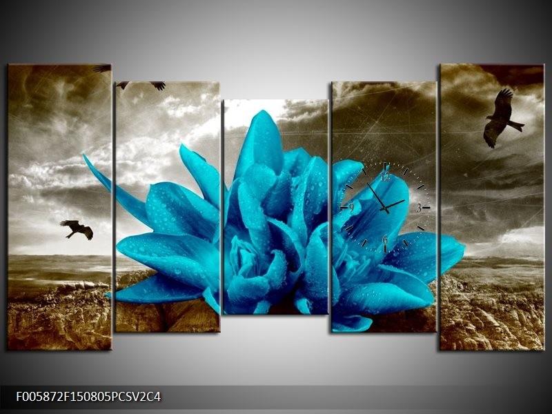 Klok schilderij Lelie | Blauw, Grijs | 150x80cm 5Luik