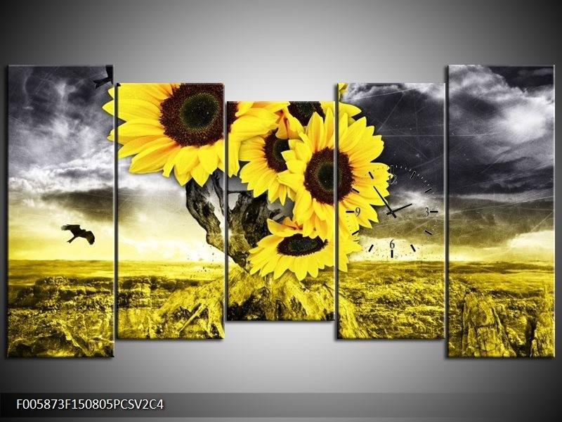 Klok schilderij Zonnebloem | Geel, Grijs | 150x80cm 5Luik