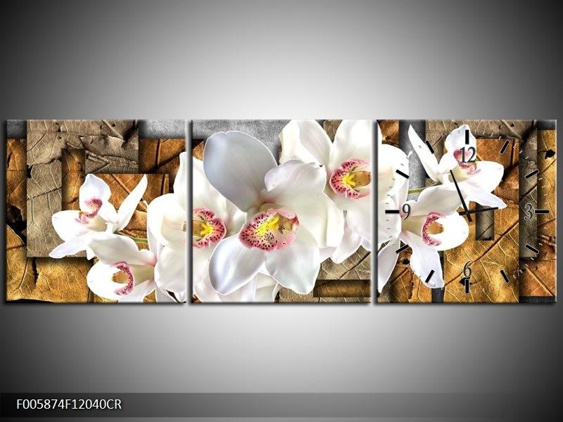 Klok schilderij Orchidee   Grijs, Bruin, Wit   120x40cm 3Luik