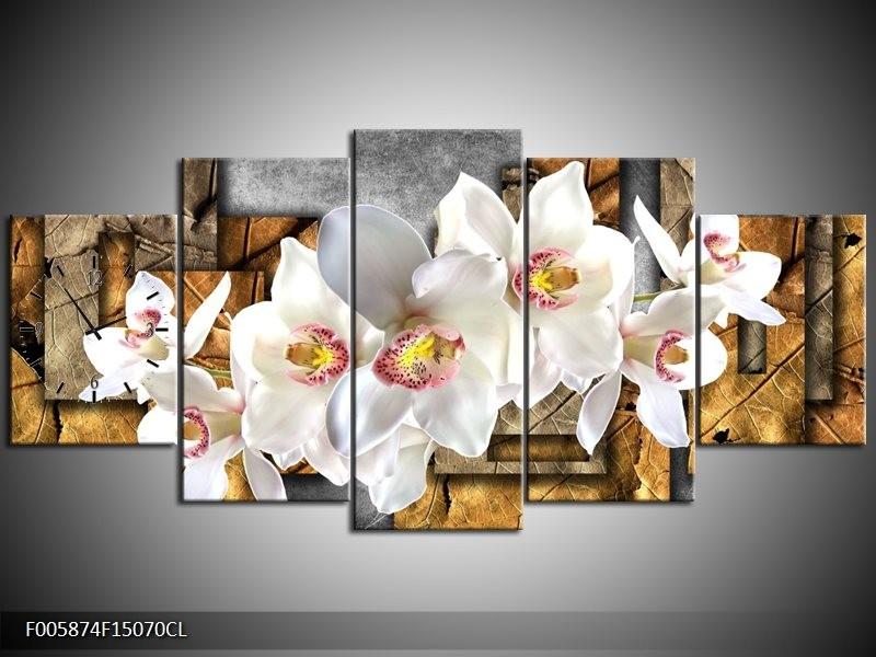 Klok schilderij Orchidee   Grijs, Bruin, Wit   150x70cm 5Luik