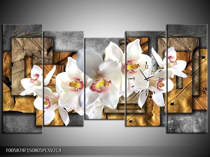 Klok schilderij Orchidee | Grijs, Bruin, Wit | 150x80cm 5Luik
