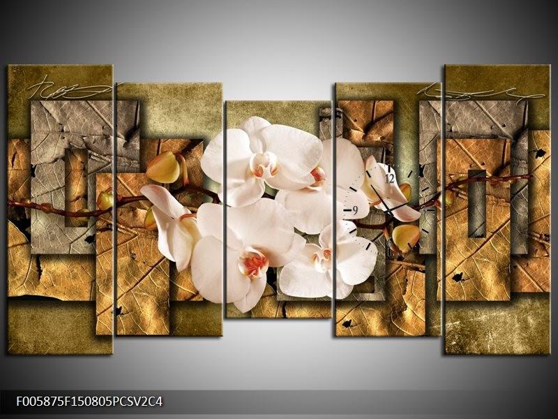 Klok schilderij Orchidee | Bruin, Crème | 150x80cm 5Luik