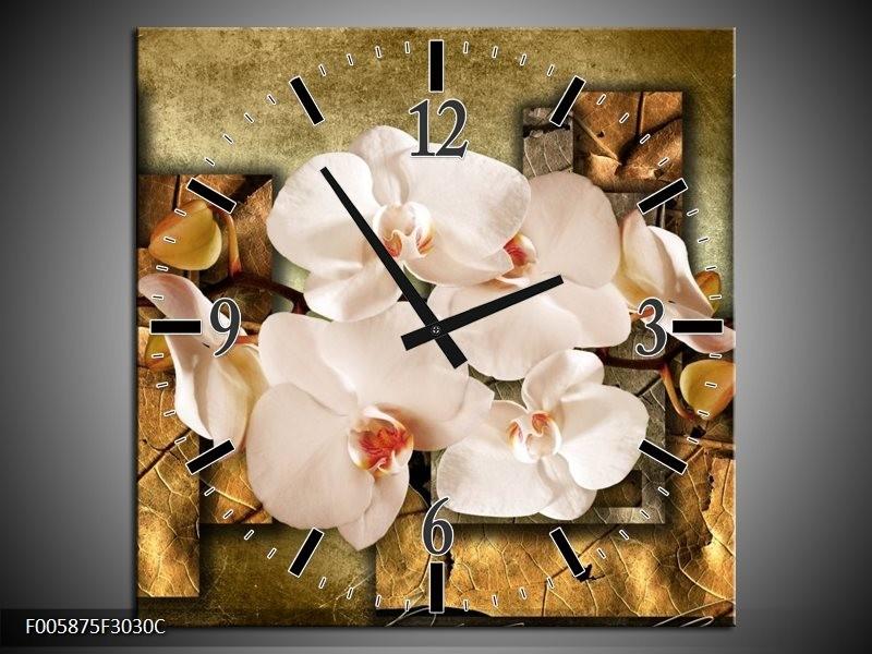 Klok schilderij Orchidee   Bruin, Crème   30x30cm 1Luik