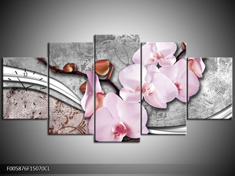 Klok schilderij Orchidee   Roze, Grijs   150x70cm 5Luik