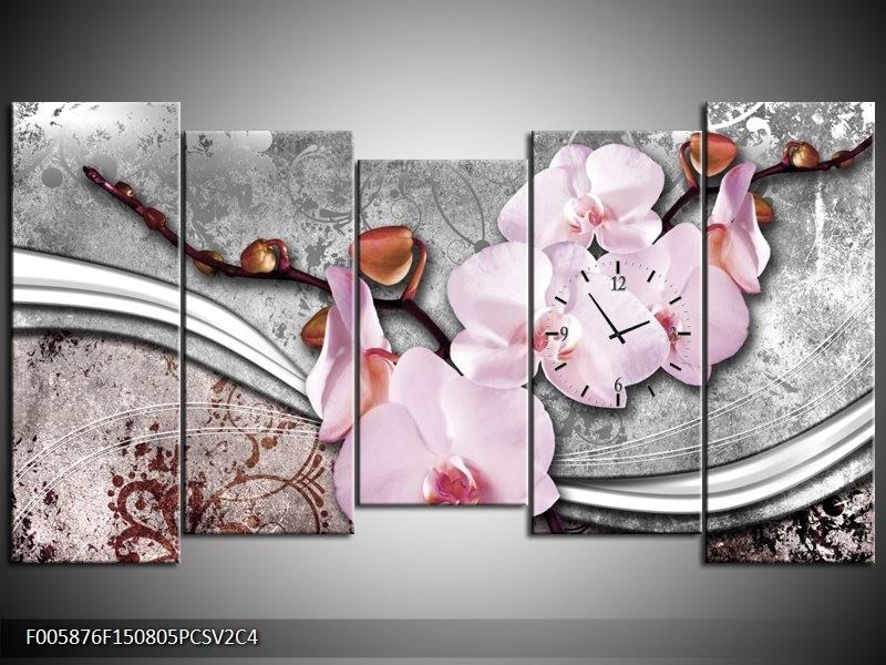 Klok schilderij Orchidee | Roze, Grijs | 150x80cm 5Luik