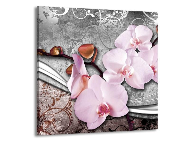 Canvas schilderij Orchidee   Roze, Grijs   70x70cm 1Luik