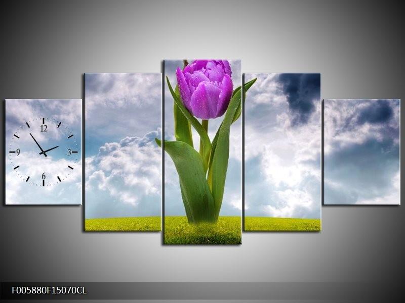 Klok schilderij Tulp   Paars, Grijs, Groen   150x70cm 5Luik