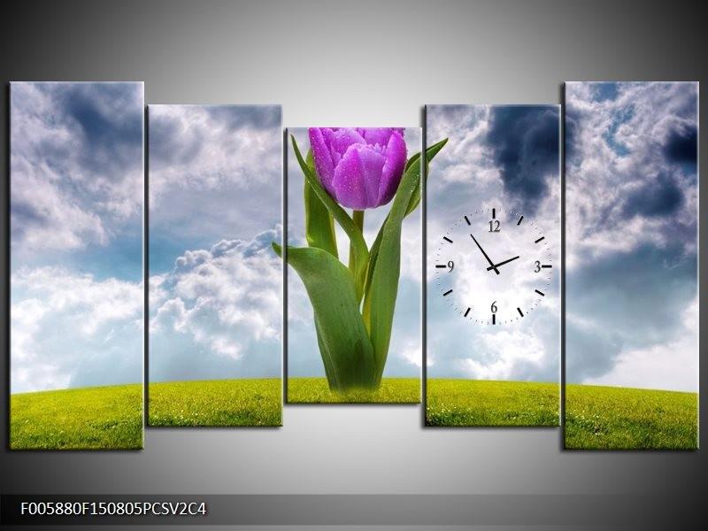 Klok schilderij Tulp | Paars, Grijs, Groen | 150x80cm 5Luik