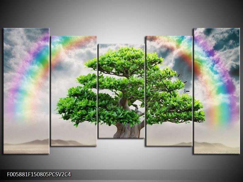 Klok schilderij Boom | Groen, Grijs | 150x80cm 5Luik