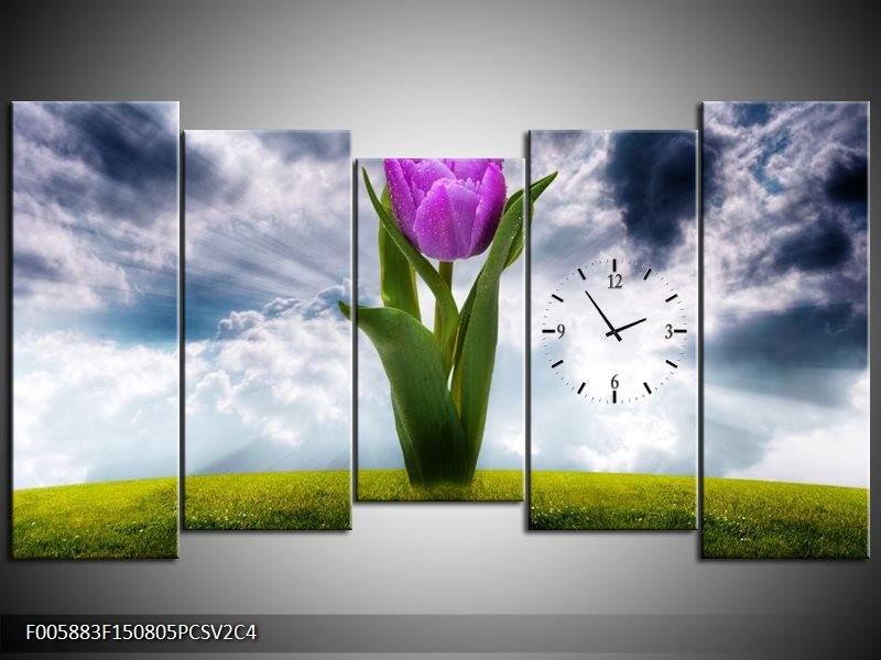 Klok schilderij Tulp | Grijs, Paars | 150x80cm 5Luik