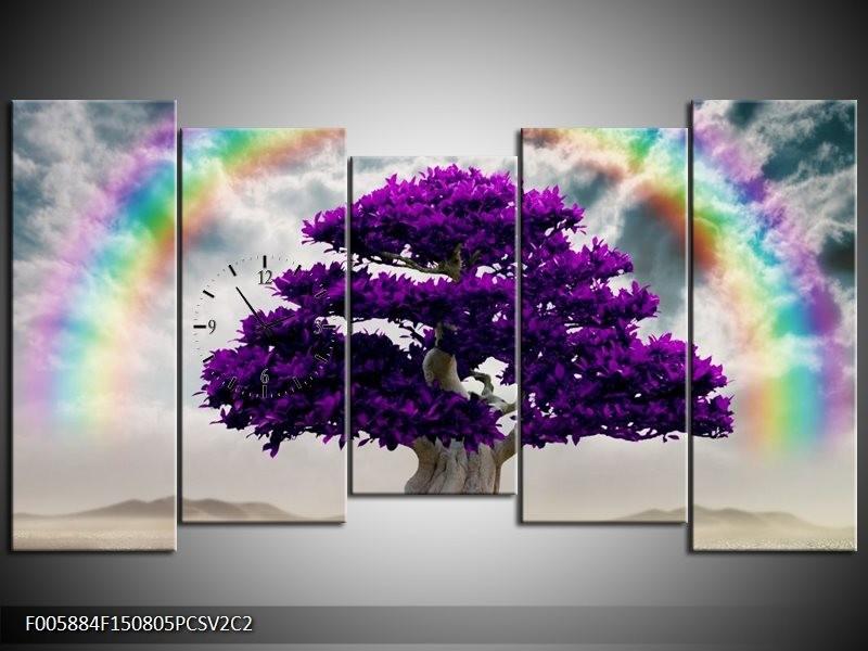 Klok schilderij Boom   Paars, Grijs   150x80cm 5Luik