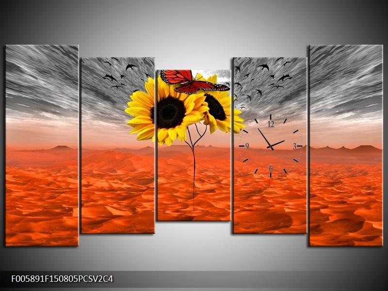 Klok schilderij Zonnebloem | Oranje, Grijs, Geel | 150x80cm 5Luik