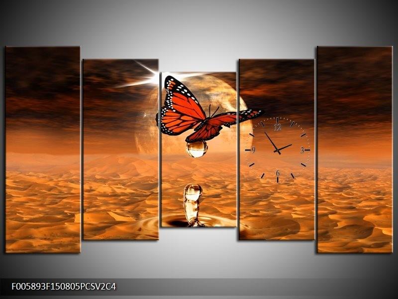 Klok schilderij Vlinder | Bruin, Goud | 150x80cm 5Luik