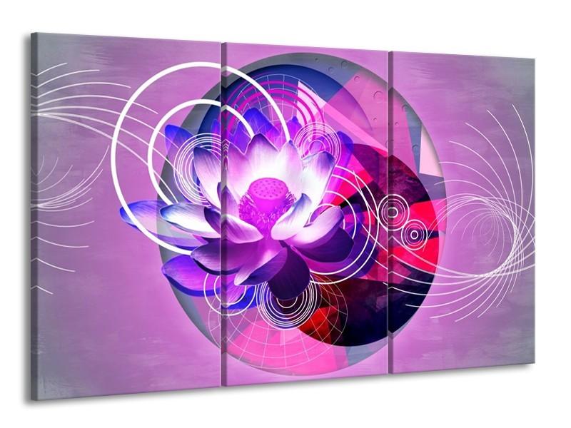Glas schilderij Lelie | Paars, Wit, Blauw | 165x100cm 3Luik