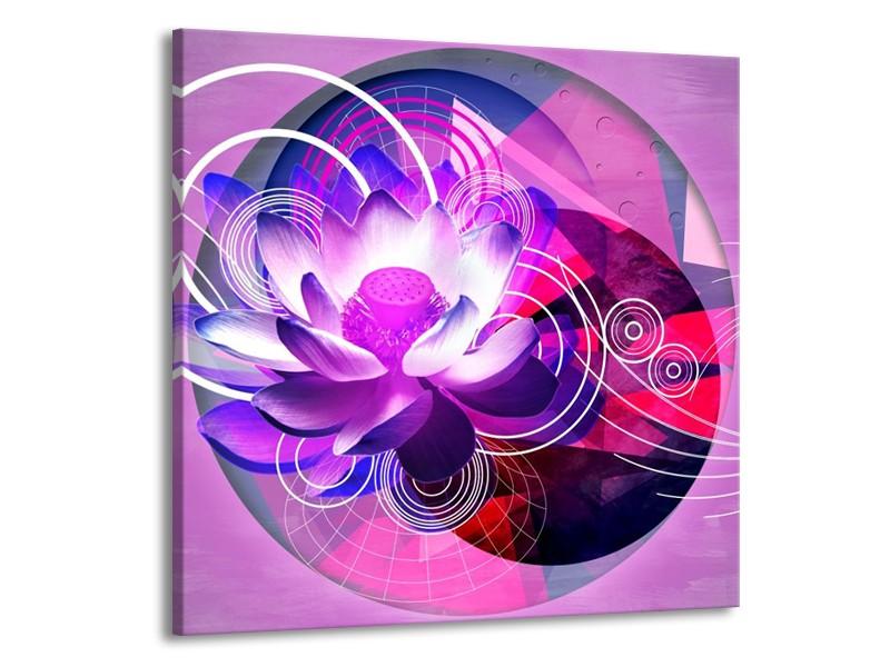 Canvas schilderij Lelie   Paars, Wit, Blauw   70x70cm 1Luik