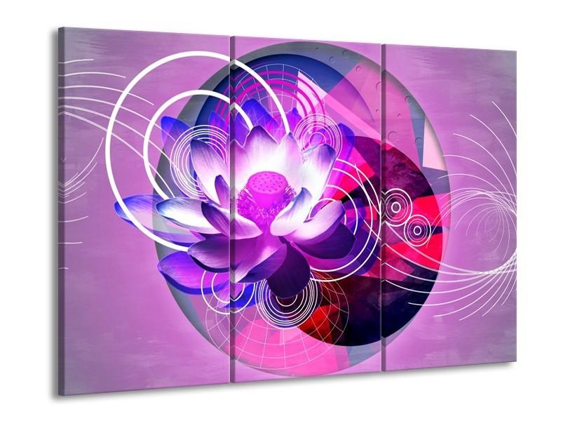 Glas schilderij Lelie | Paars, Wit, Blauw | 90x60cm 3Luik
