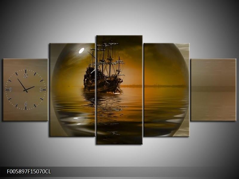 Klok schilderij Boot | Bruin, Grijs | 150x70cm 5Luik