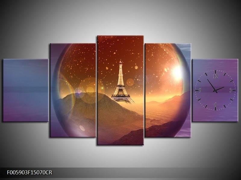 Klok schilderij Eiffeltoren | Paars, Goud, Bruin | 150x70cm 5Luik