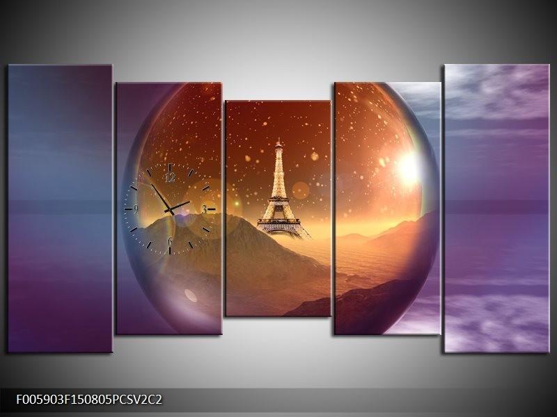 Klok schilderij Eiffeltoren | Paars, Goud, Bruin | 150x80cm 5Luik