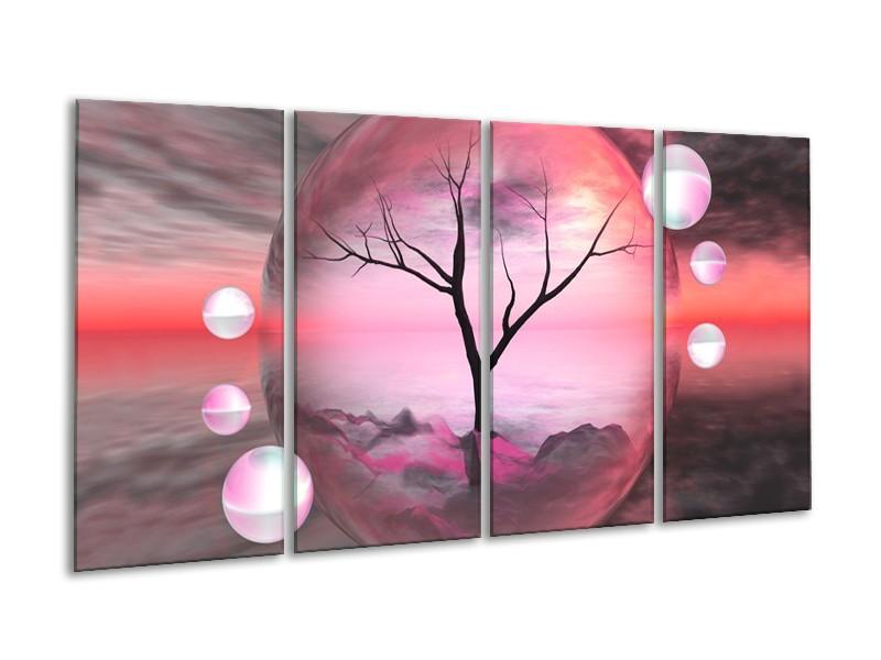 Glas schilderij Boom | Paars, Grijs | 160x80cm 4Luik