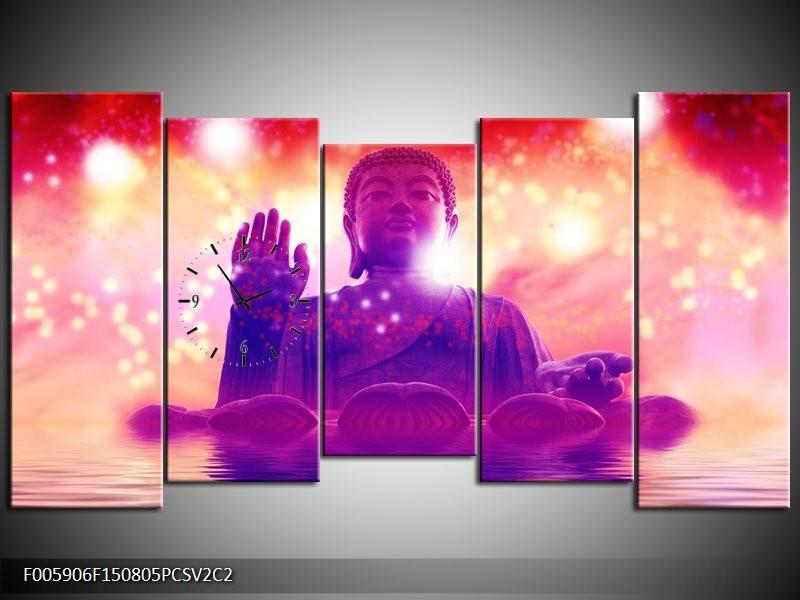 Klok schilderij Boeddha   Paars, Rood   150x80cm 5Luik