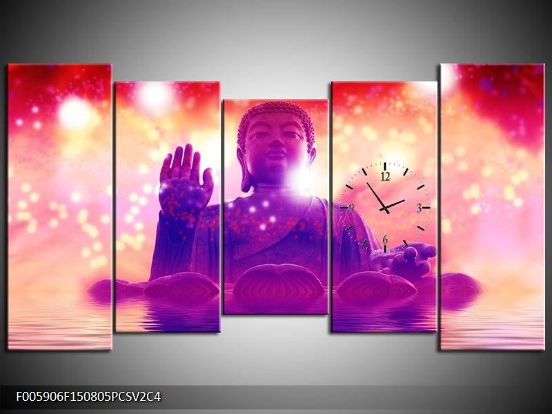 Klok schilderij Boeddha | Paars, Rood | 150x80cm 5Luik
