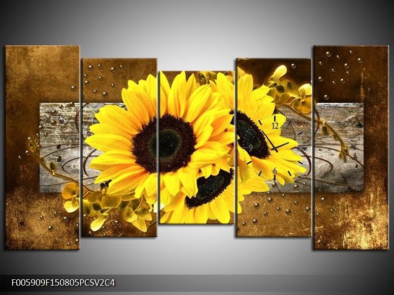 Klok schilderij Zonnebloem | Geel, Bruin, Grijs | 150x80cm 5Luik