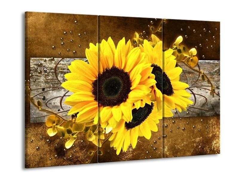 Glas schilderij Zonnebloem | Geel, Bruin, Grijs | 90x60cm 3Luik