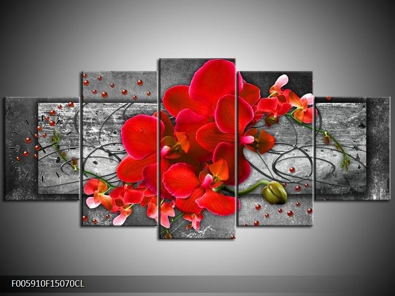 Klok schilderij Orchidee   Rood, Grijs   150x70cm 5Luik