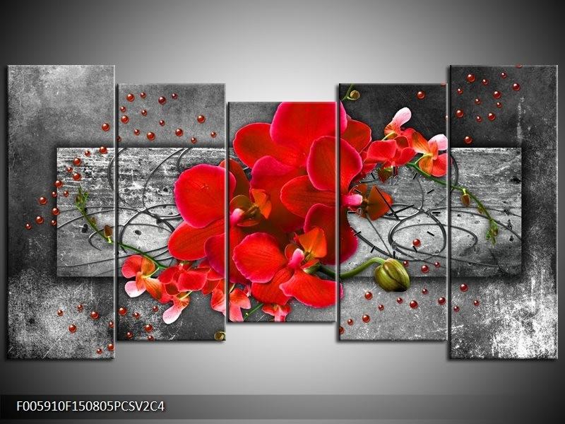 Klok schilderij Orchidee | Rood, Grijs | 150x80cm 5Luik