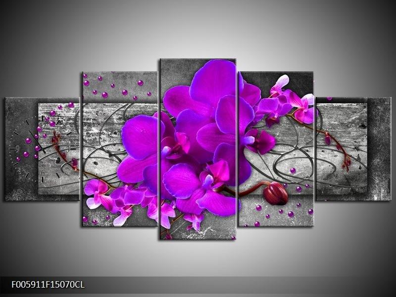 Klok schilderij Orchidee   Paars, Grijs   150x70cm 5Luik