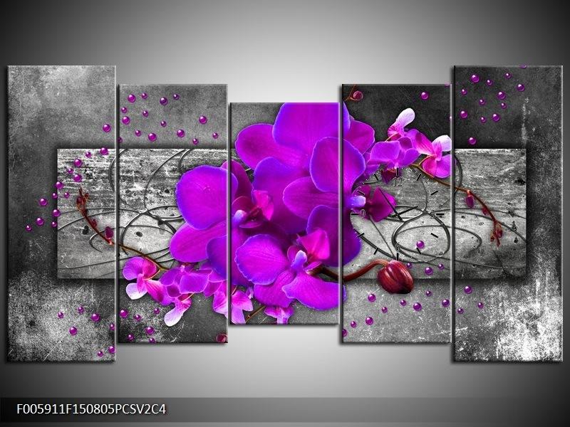 Klok schilderij Orchidee | Paars, Grijs | 150x80cm 5Luik