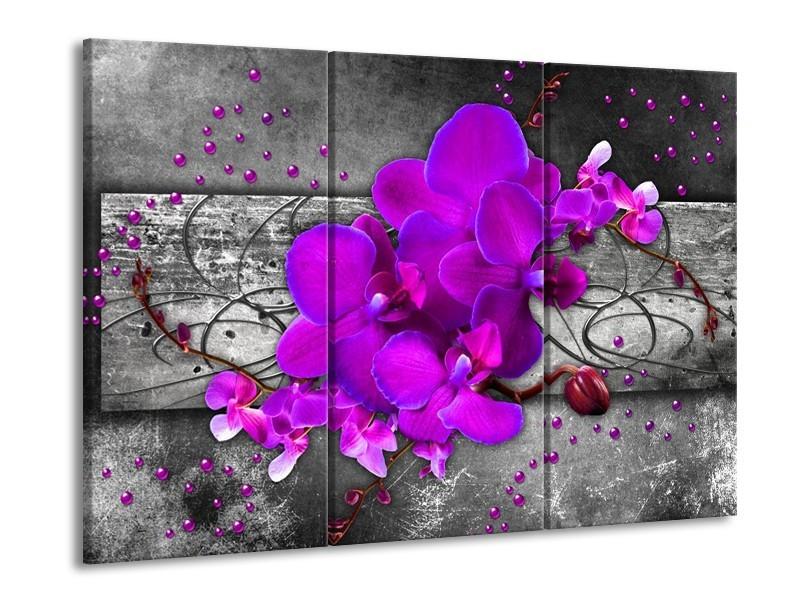Glas schilderij Orchidee | Paars, Grijs | 90x60cm 3Luik