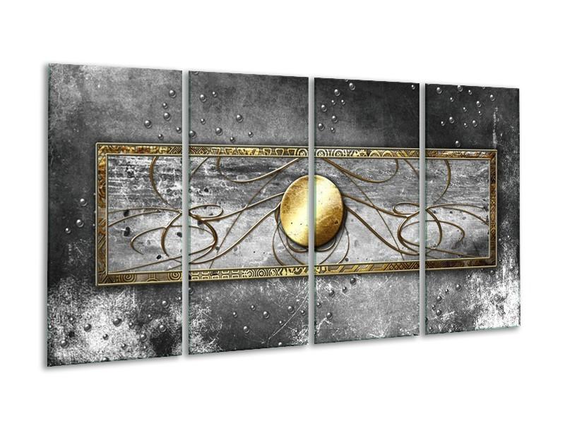 Glas schilderij Cirkel | Grijs, Goud | 160x80cm 4Luik