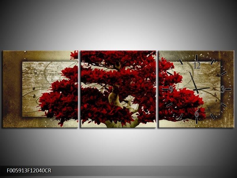 Klok schilderij Boom   Rood, Bruin   120x40cm 3Luik
