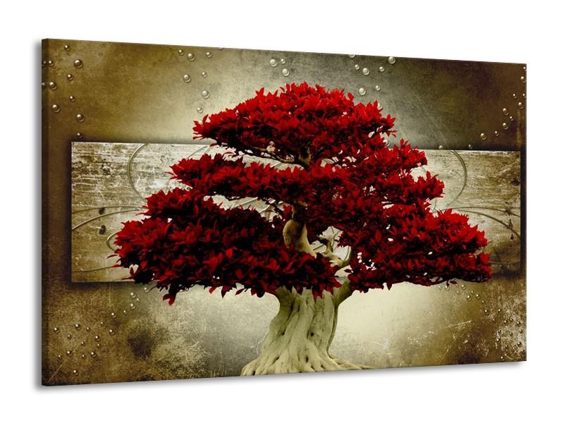 Glas schilderij Boom | Rood, Bruin | 140x90cm 1Luik