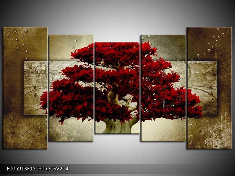 Klok schilderij Boom | Rood, Bruin | 150x80cm 5Luik