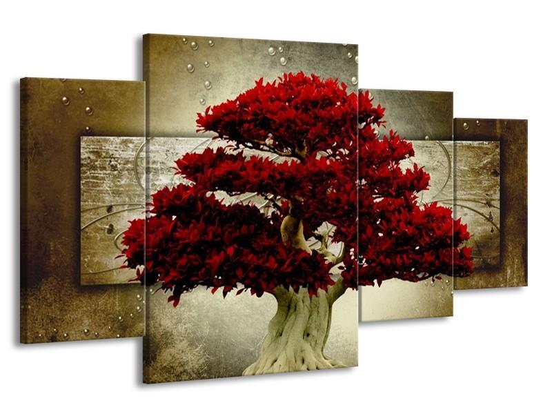 Canvas schilderij Boom | Rood, Bruin | 160x90cm 4Luik