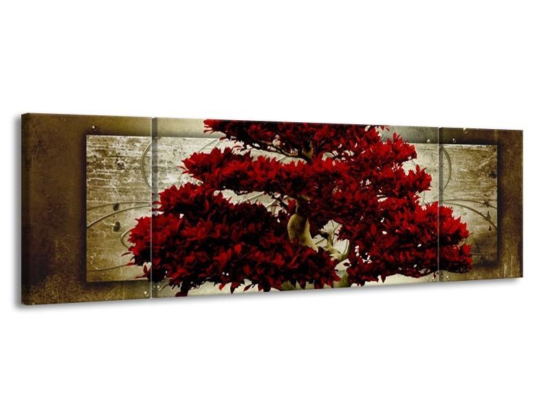 Canvas schilderij Boom | Rood, Bruin | 170x50cm 3Luik