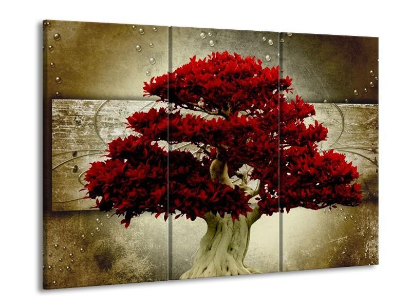Glas schilderij Boom | Rood, Bruin | 90x60cm 3Luik