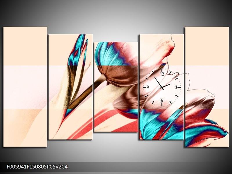 Klok schilderij Tulp | Blauw, Rood, Crème | 150x80cm 5Luik