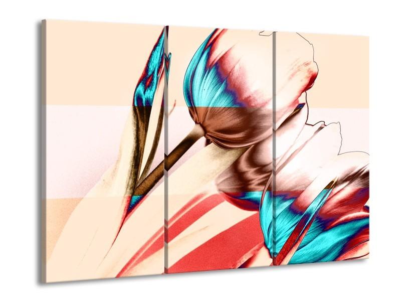 Glas schilderij Tulp | Blauw, Rood, Crème | 90x60cm 3Luik