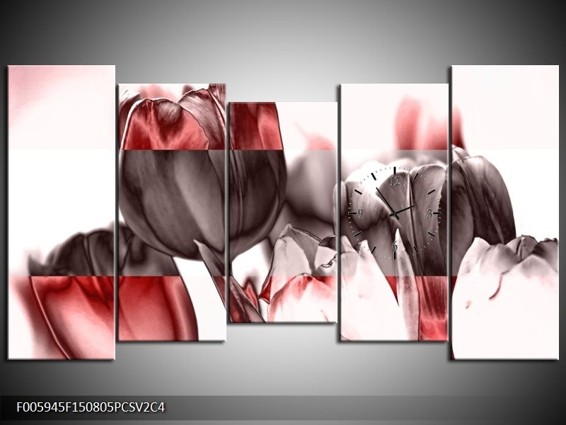 Klok schilderij Tulp | Rood, Wit, Bruin | 150x80cm 5Luik