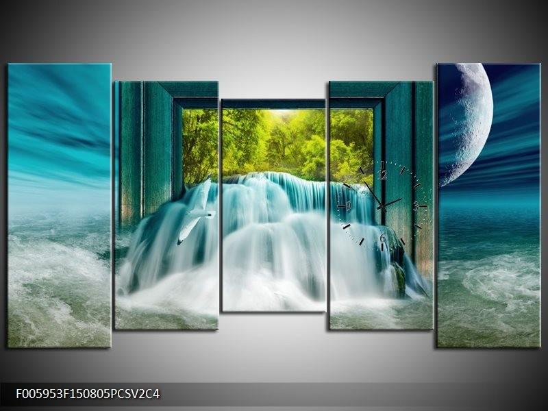 Klok schilderij Waterval | Blauw, Groen, Wit | 150x80cm 5Luik