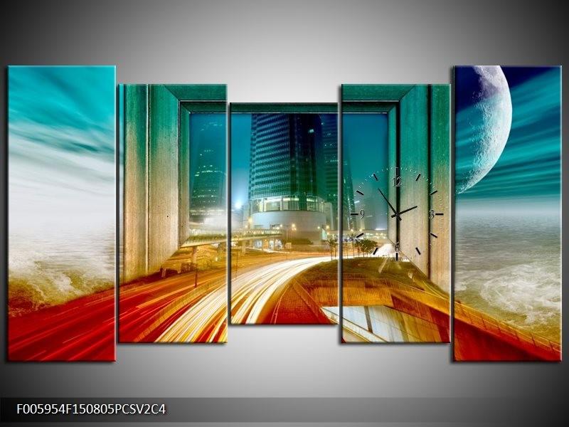 Klok schilderij Gebouw | Rood, Blauw, Groen | 150x80cm 5Luik