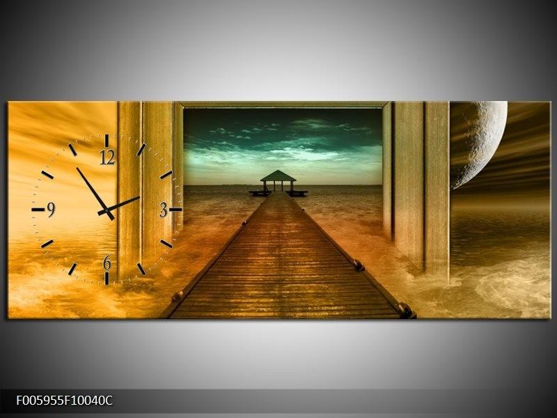 Klok schilderij Brug | Goud, Blauw, Grijs | 100x40cm 1Luik