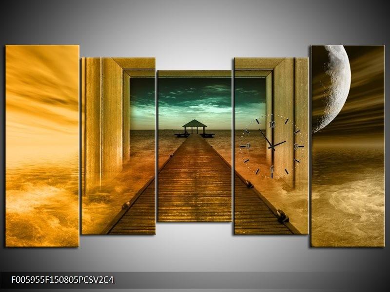Klok schilderij Brug | Goud, Blauw, Grijs | 150x80cm 5Luik