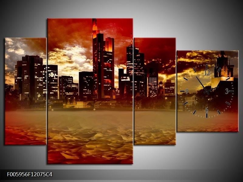 Klok schilderij Stad | Rood, Geel, Grijs | 120x75cm 4Luik